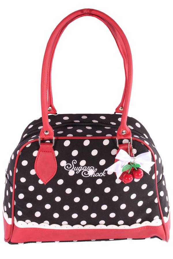 Polka Dots Rüschen rockabilly Bowling Punkte Schleifchen Handtasche
