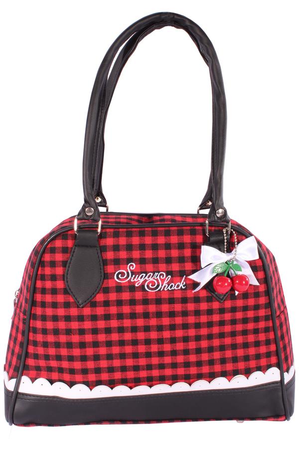 GINGHAM Rüschen rockabilly Bowling Karo Cherry Schleifchen Handtasche