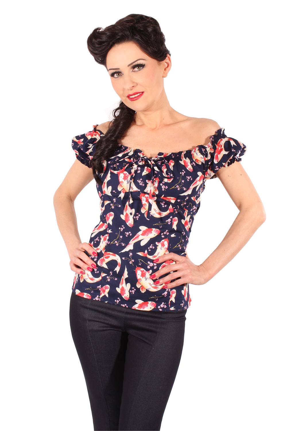 Japanese KOI rockabilly Flower Carmen Blumen Puffärmel Shirt TOP