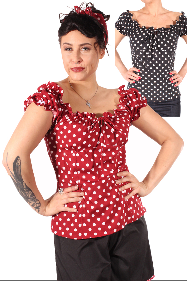 50er Jahre POLKA DOTS rockabilly Carmen Puffärmel Shirt retro TOP