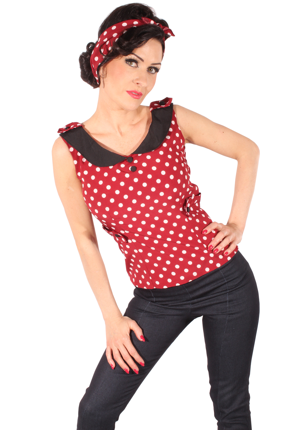Polka Dots Bubikragen Rockabilly pin up Uniform Corsagentop TOP