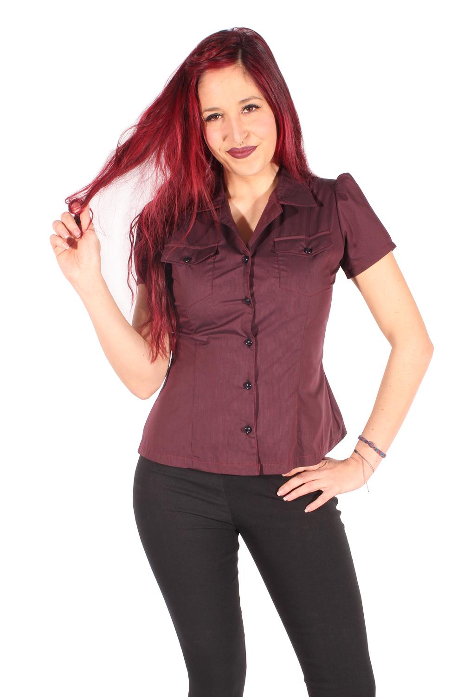 Nadelstreifen retro rockabilly Hemd gestreift Puffärmel Bluse schwarz-pink