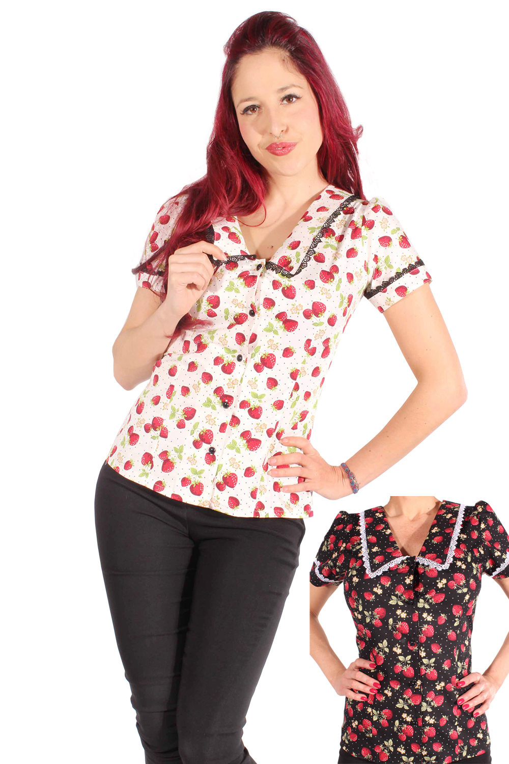 Punkte Erdbeer Polka Dots Rockabilly pin up Strawberry Bluse