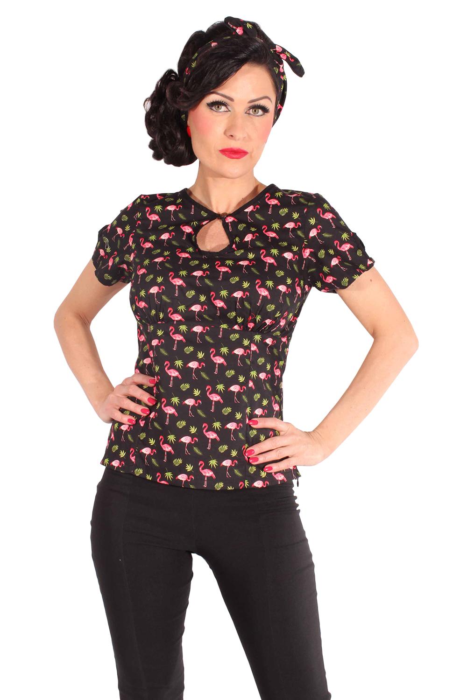 Flamingo Rockabilly Sommer Blumen Shirt Schlüsselloch Bluse schwarz