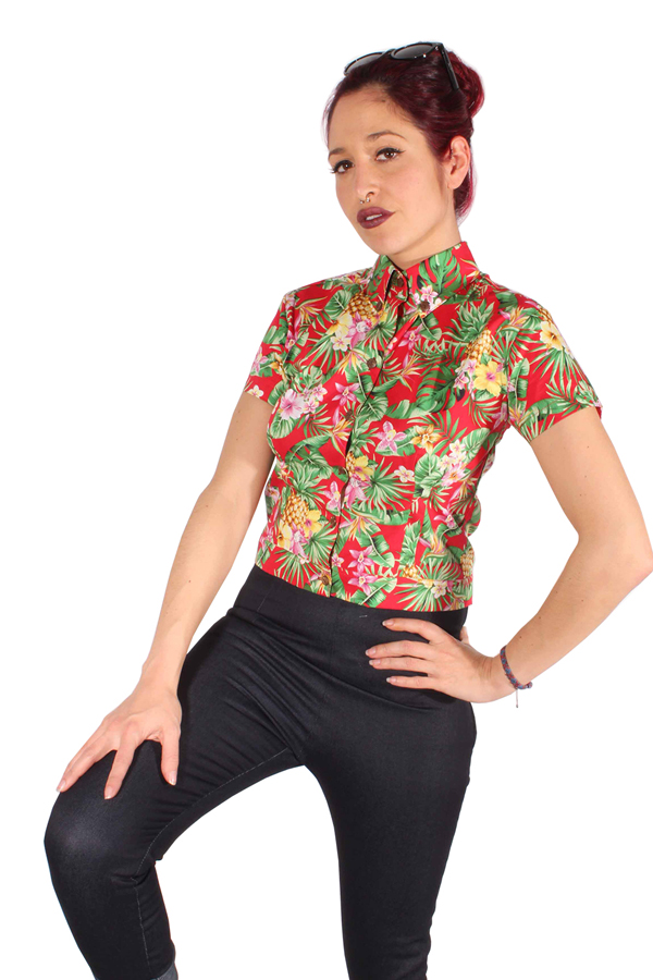 HAWAII Hemd Hawaiiblüten Oi! Punk Skin Bluse rockabilly Kurzbluse