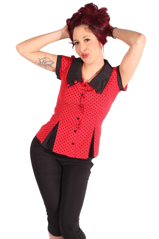 50s Rockabilly POLKA DOTS retro Punkte Kellerfalten Bluse rot schwarz