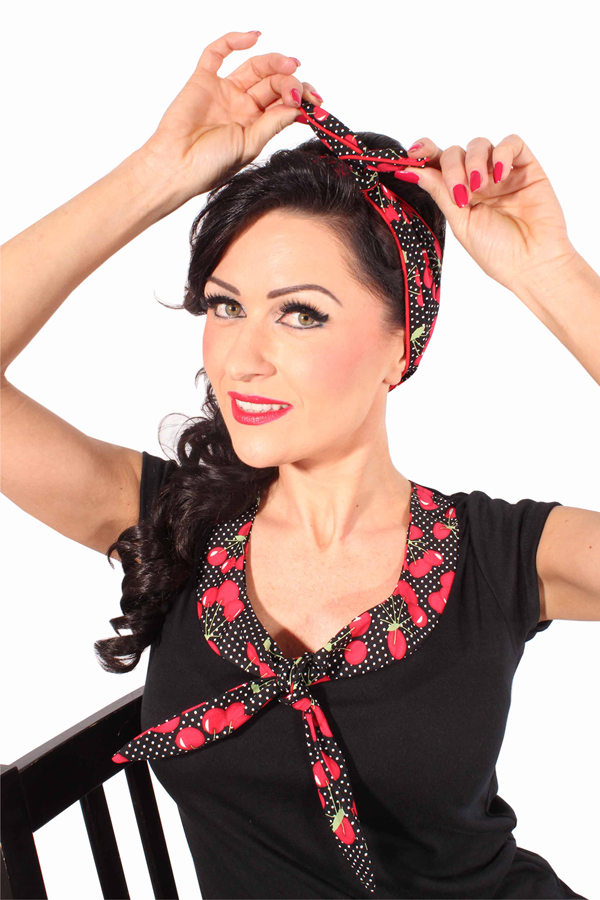 POLKA DOTS rockabilly Cherry Haarreif Kirsche Frisuren Haarband