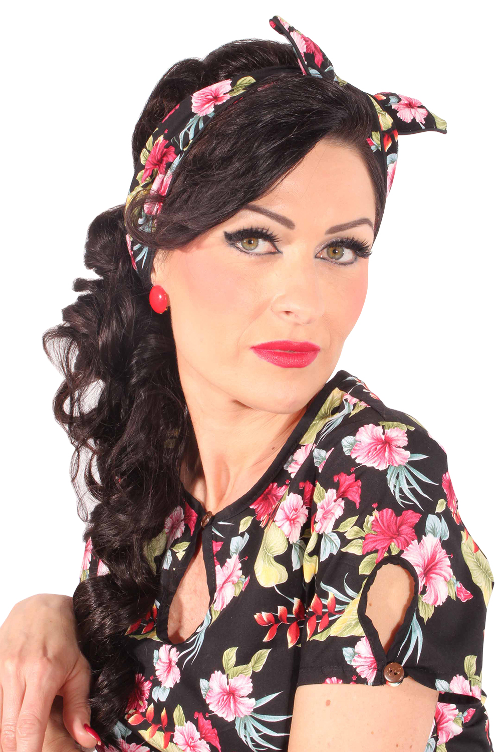 Hibiskus rockabilly Haarreif pin up Hawaiiblüten Frisuren Haarband