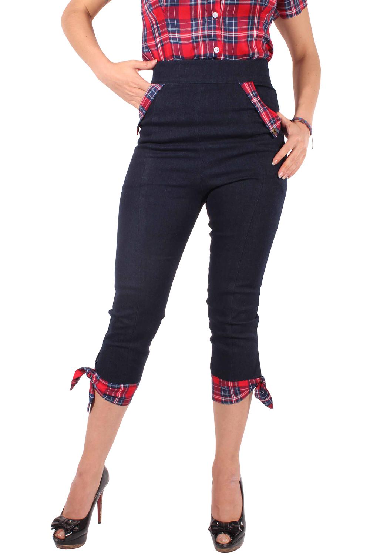 Rockabilly High Waist Denim Tartan Caprihose Jeans Karo CAPRI Hose