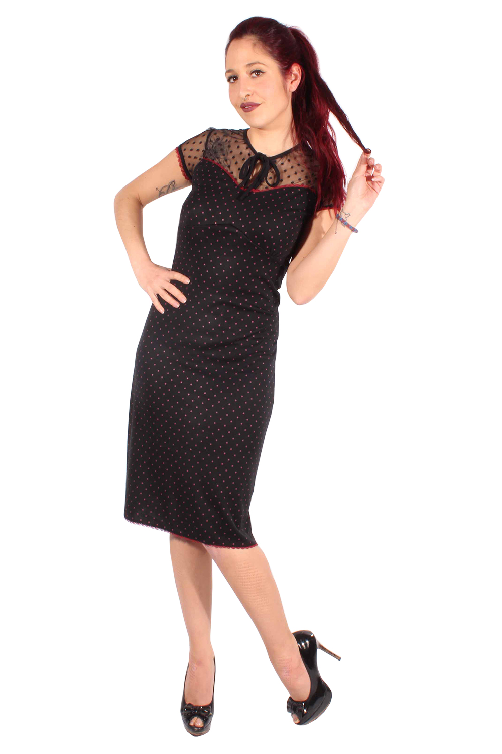 POLKA DOTS Netz rockabilly A-Linie Stretch KLEID Strandkleid Shirtkleid