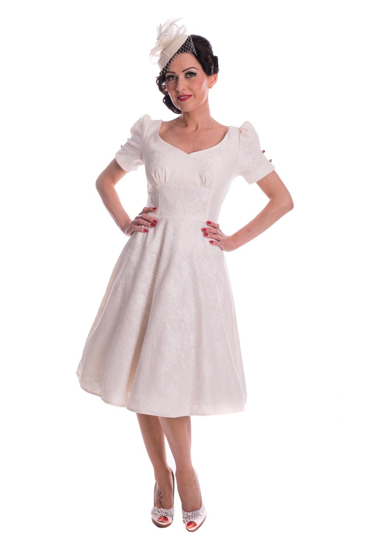 595fe9646513bf 50s rockabilly SWING Petticoat Kleid Brautkleid Hochzeitskleid creme ...