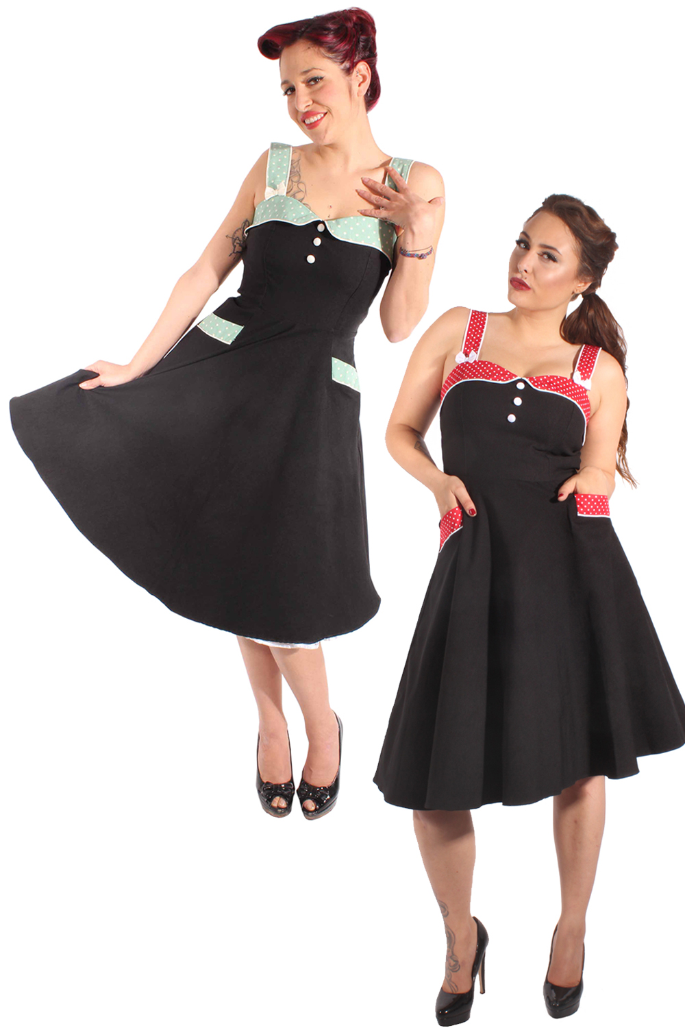 50er retro Petticoatkleid Pin Up POLKA DOTS Sommer Swing Kleid