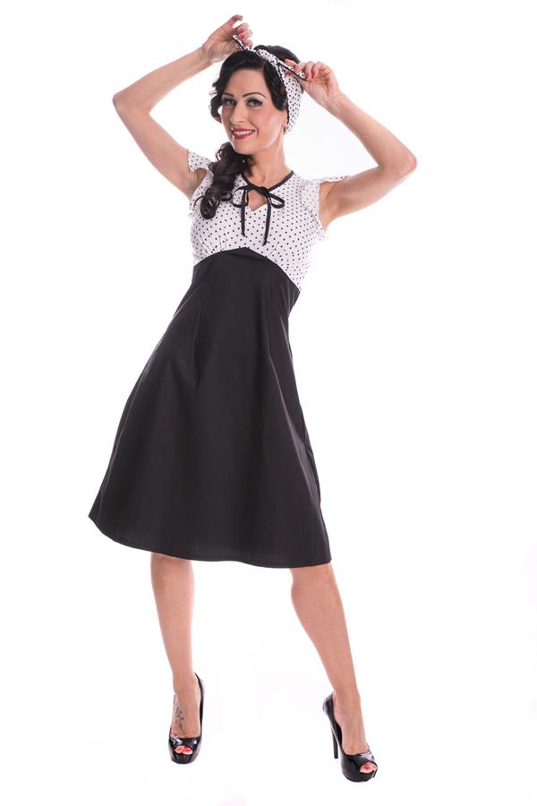Retro Polka Dots rockabilly Schlüsselloch A-linie Flügelarme Kleid