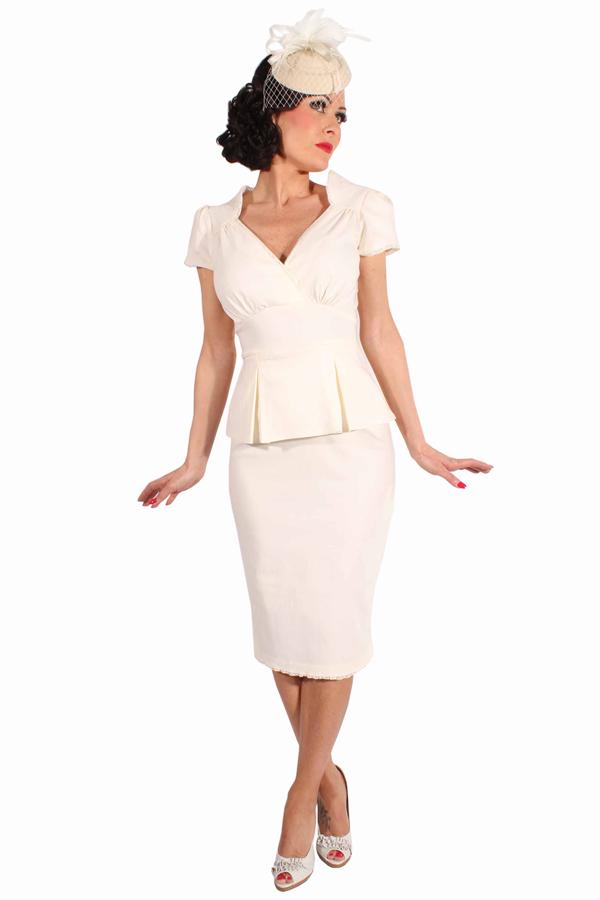 50s Schößchen Rockabilly Pencil Kleid Brautkleid Hochzeitskleid creme