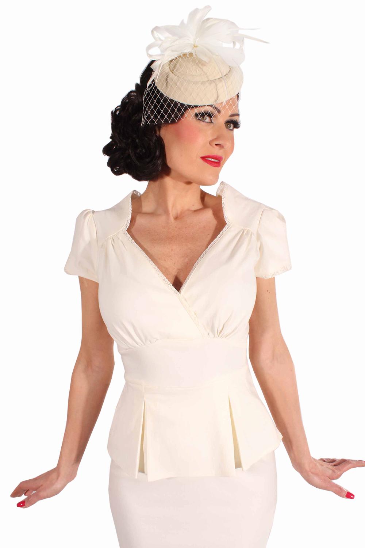 9c6612cf40c5de 50s Schößchen Rockabilly Pencil Kleid Brautkleid Hochzeitskleid creme