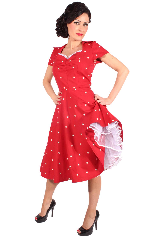 50er Jahre retro Pin Up Herzchen Swing Kleid Petticoatkleid rot