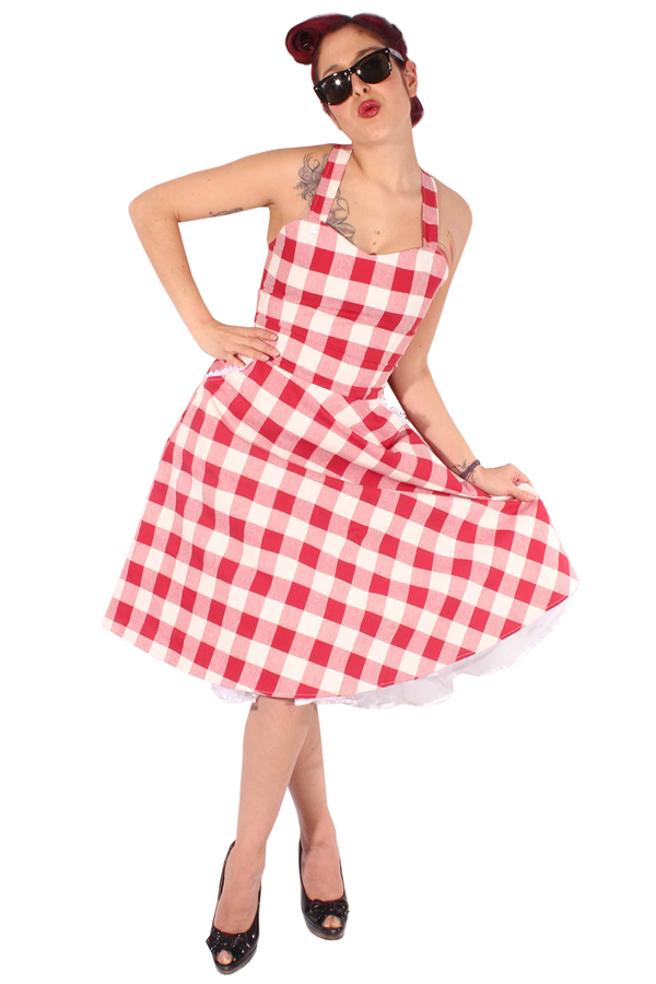 Gingham rockabilly retro Hosenträger Karo Swing Petticoat Kleid