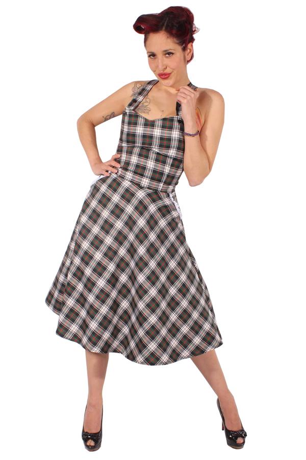 Tartan rockabilly retro Hosenträger Schottenkaro Swing Petticoat Kleid