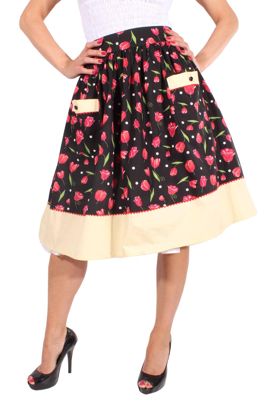50s Blumen retro Blüten Polka Dots SWING Tulpenrock Petticoat Rock