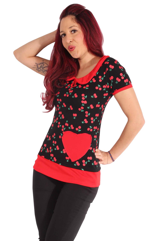 retro Kirschen Rockabilly Cherry Bubikragen Longshirt Shirt Rückenfrei