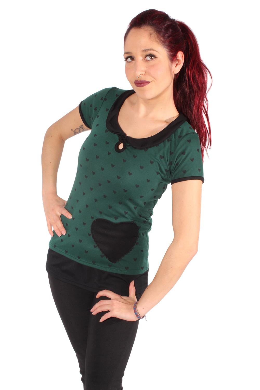 retro Rockabilly Bubikragen Herzchen Shirt Rückenfrei Heart Longshirt