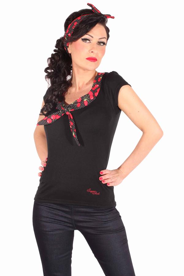 50s rockabilly Puffärmel Polka Dots Kirschen Schleifenkragen T-Shirt
