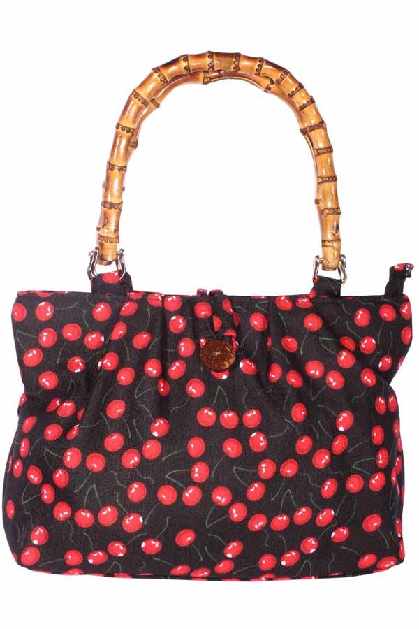 50er Kirschen Rockabilly Bambus Cherry Handtasche schwarz