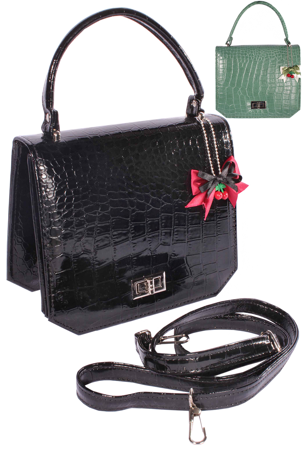 Krokodil Optik retro rockabilly BOW Cherry Croco Handtasche