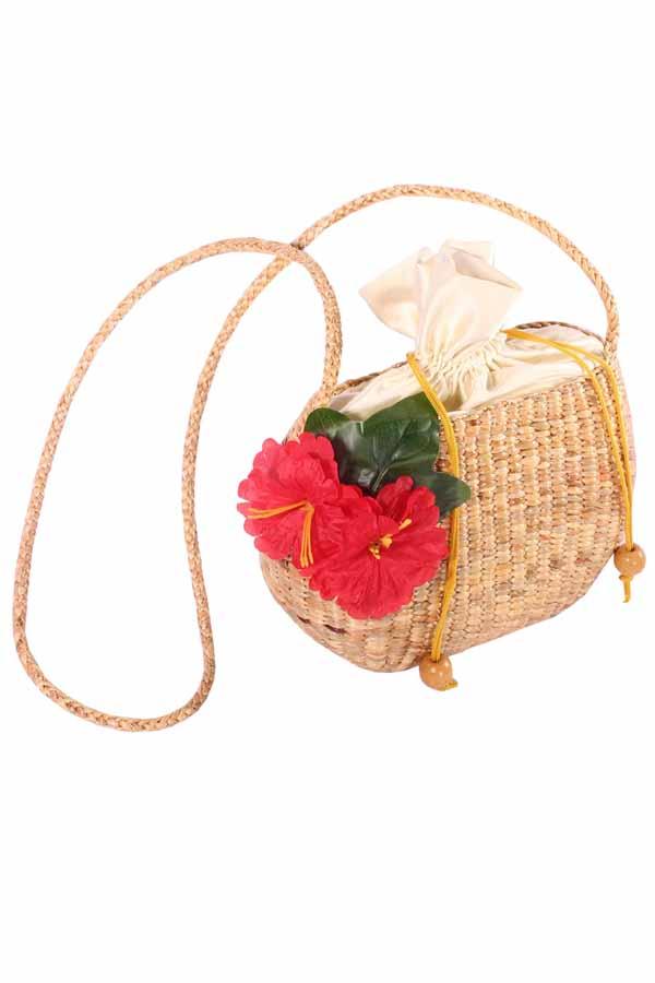 50s Hibiskusblüten Flower pin up rockabilly BAST Korb Handtasche