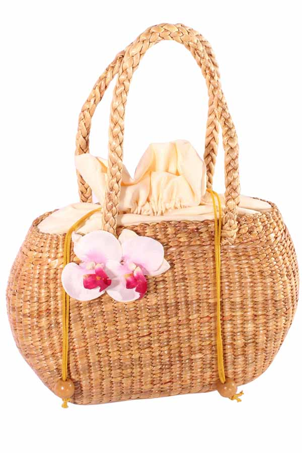 50er Jahre Orchideen Flower pin up rockabilly Bastkorb Bast Handtasche