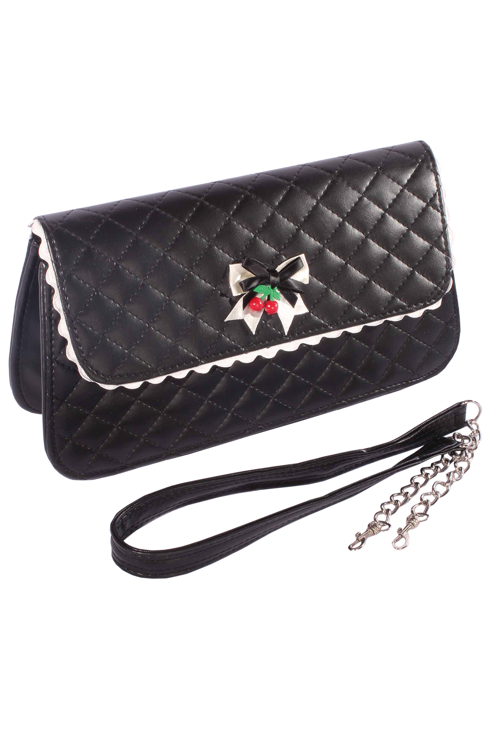 vintage Argyle retro rockabilly Tasche BOW Cherry Clutch Handtasche
