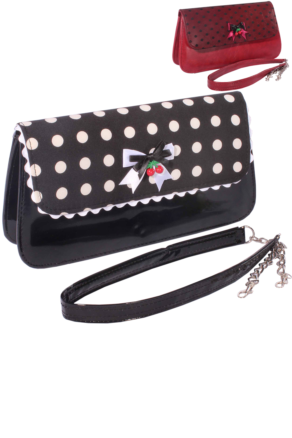 Polka Dots retro rockabilly Punkte BOW Cherry Clutch Handtasche
