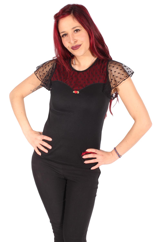 Polka Dots Netzeinsatz Rockabilly Shirt Schmetterlingsärmel Mesh Top