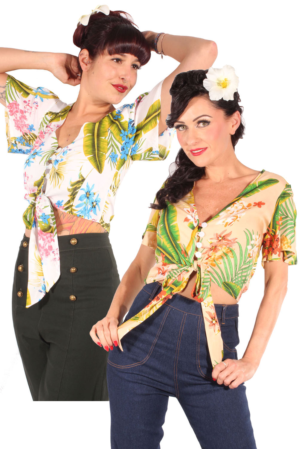 Hawaii retro rockabilly Gypsy Flower Bluse Taillenbluse Kurzbluse