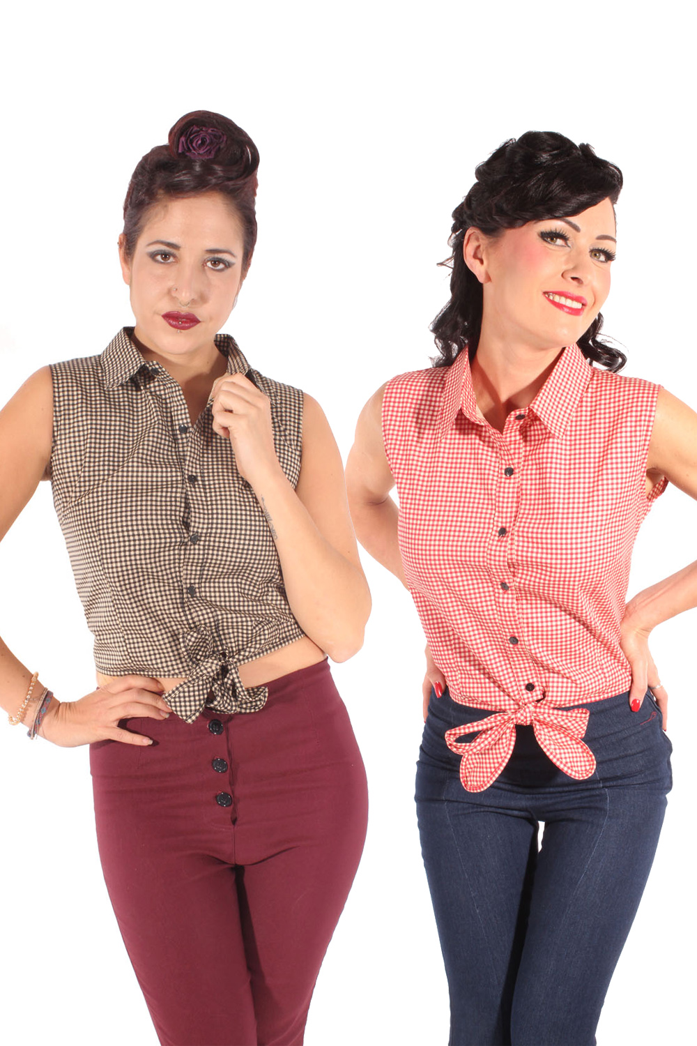 Gingham retro rockabilly Taillenbluse Country Binde Bluse Kurzbluse