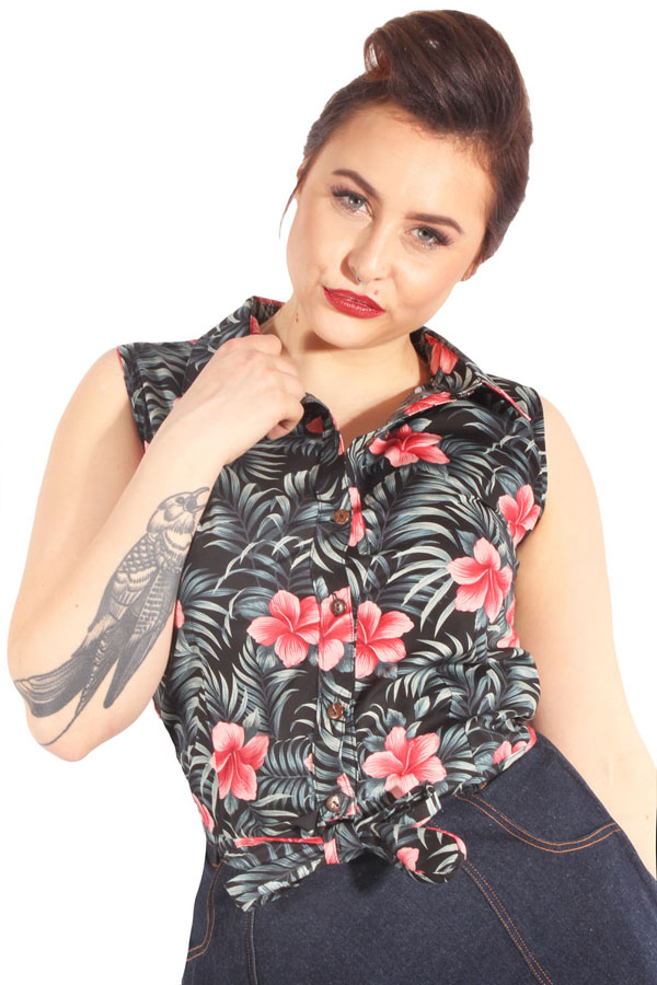 Hawaii pin up retro rockabilly Taillenbluse Binde Bluse Kurzbluse sw