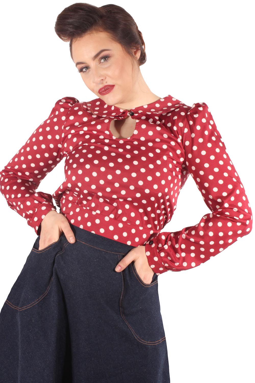 50er Keyhole Retro Rockabilly Polka Dots Schlüsselloch Bluse Kurzbluse