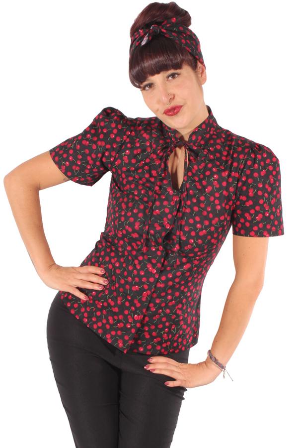 retro Kirschen rockabilly Schluppenbluse Cherry Keyhole Stehkragen Bluse