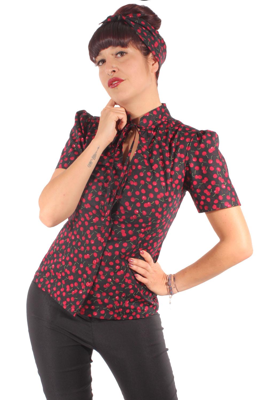 SugarShock Enaya Rockabilly 40s Pin Up retro Polka Dots Puffärmel Bluse