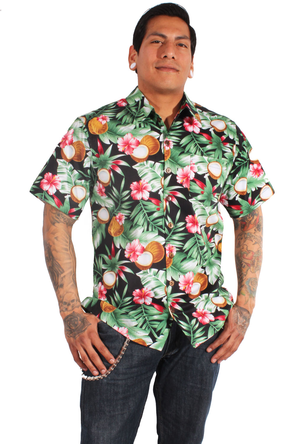 Kokosnuss retro Hawaii rockabilly Hawaiihemd Hibiskus Blumen Shirt