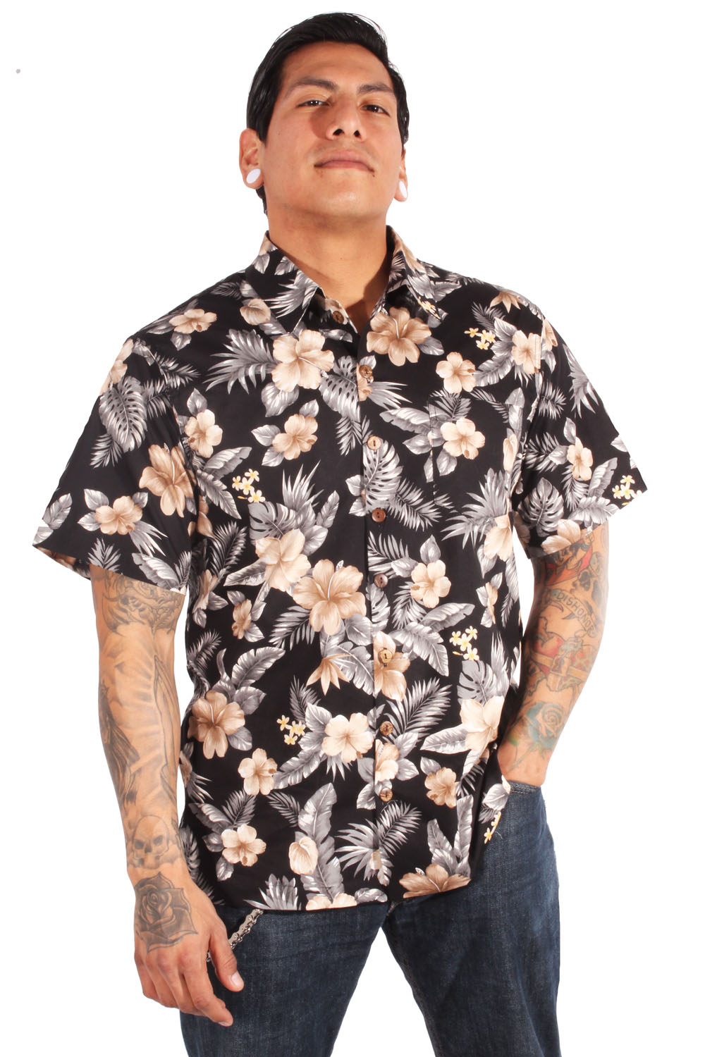 retro Hawaii Blumen Hibiskus rockabilly Hawaiihemd Shirt schwarz