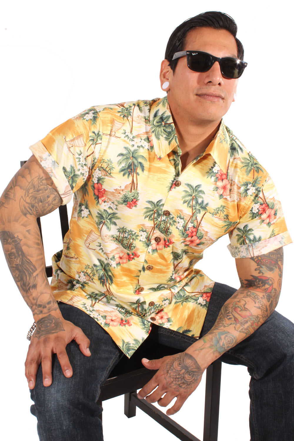 retro Hawaii Hibiskus Palmen rockabilly Hawaiihemd Shirt geblümt gelb