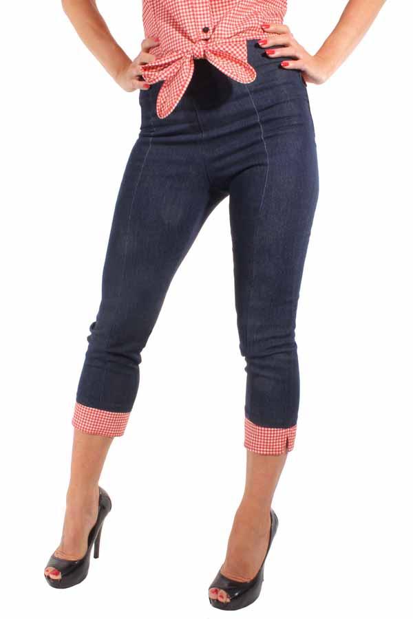 Denim Rockabilly High Waist Gingham Caprihose Karo Jeans Capri Hose