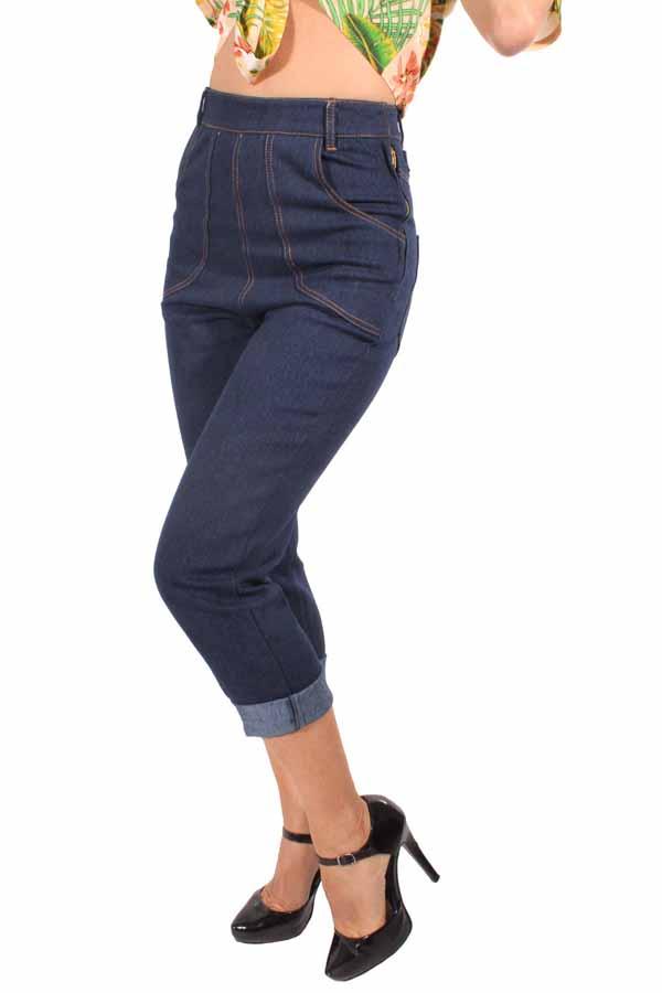 Denim Capri Buckle Retro rockabilly Cinch Back Caprihose Jeans Hose
