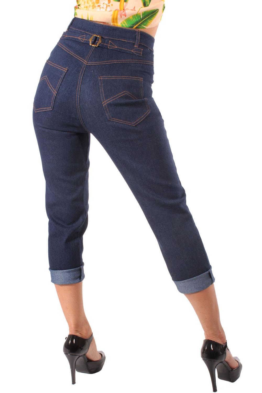 Denim Marlene Buckle Jeans Retro rockabilly Cinch Back Hose