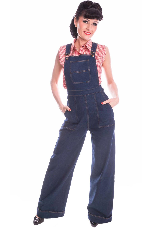 Denim Hosenträger Retro Jeans rockabilly Marlene Latzhose