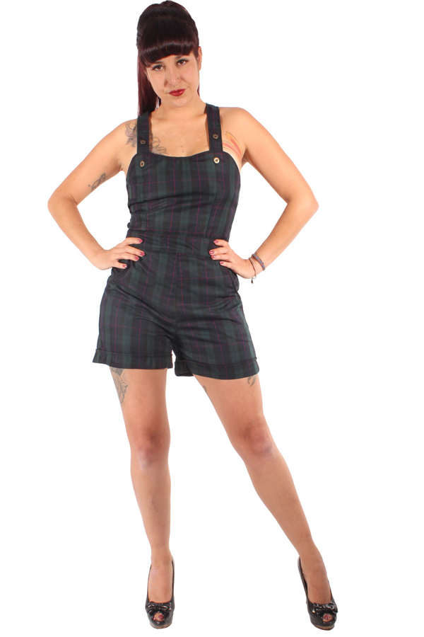 Karo Latzhose Retro rockabilly Tartan Hosenträger Shorts Jumpsuit plaid