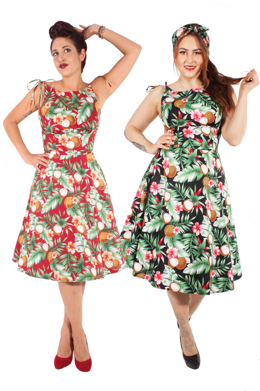 Hawaii Retro Hibiskus Petticoatkleid Sommer Swing Kleid Trägerkleid