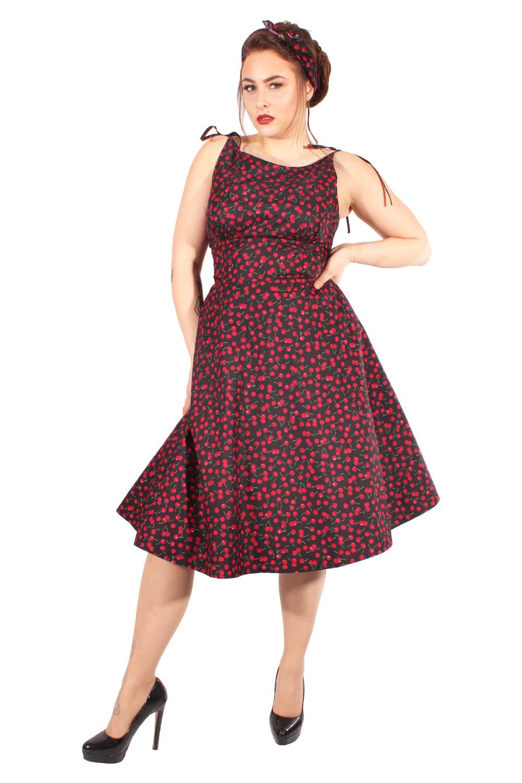 Retro Cherry Petticoatkleid Kirschen Sommer Swing Kleid Trägerkleid