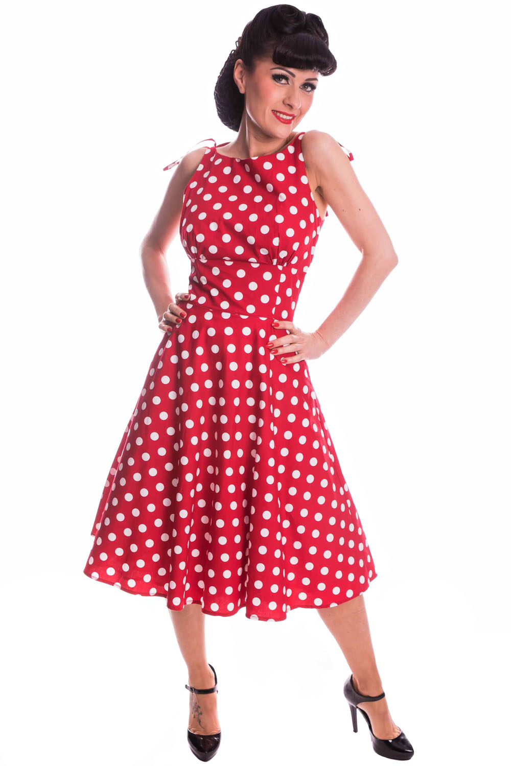 Retro Petticoatkleid Pin Up Polka Dots Sommer Swing Kleid Trägerkleid